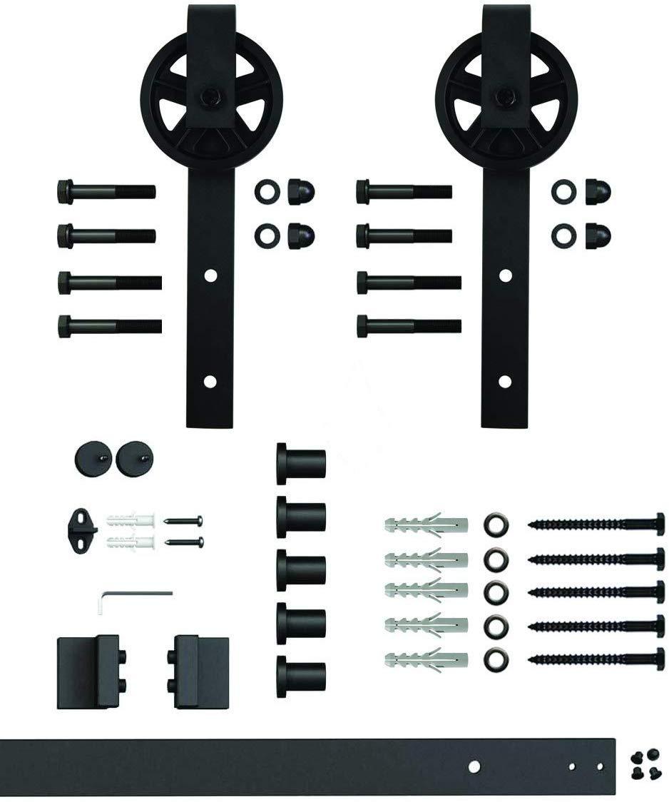 rueda de radios Sistema de puerta corredera rueda de radios de 200 cm juego completo con ruedas y carril sistema de puerta corredera de 2 metros