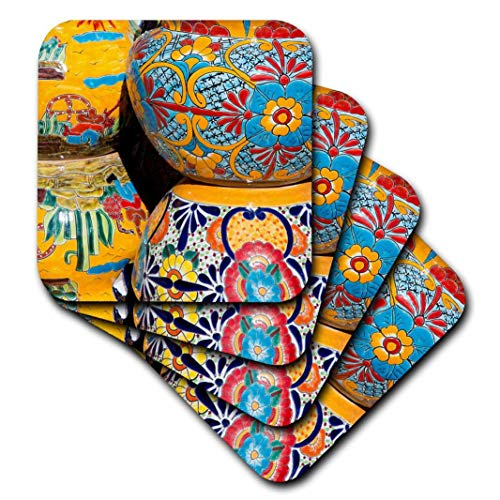 on, Tubac. Traditional Hand-Painted Mexican Pottery. - Ceramic Tile Coasters, Set of 4 (CST_210077_3) ()