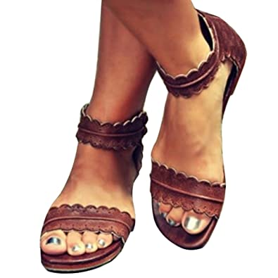 4bc5446fe9f93b Maybest Womens Summer Flat Sandals Cute Open Toe Beach Shoes Ankle Strap  Sandals Brown 8 B