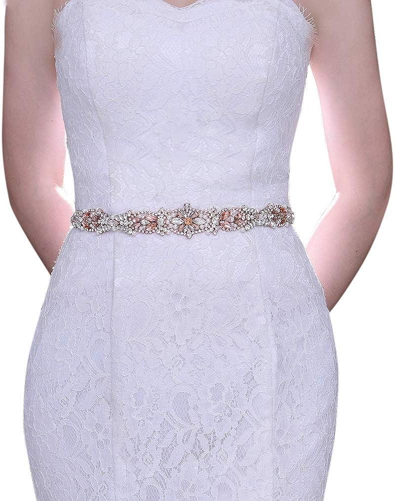 Simple Fashion Rose Gold Rhinestone Belt Rhinestone Trim With Ribbon Sash Belt