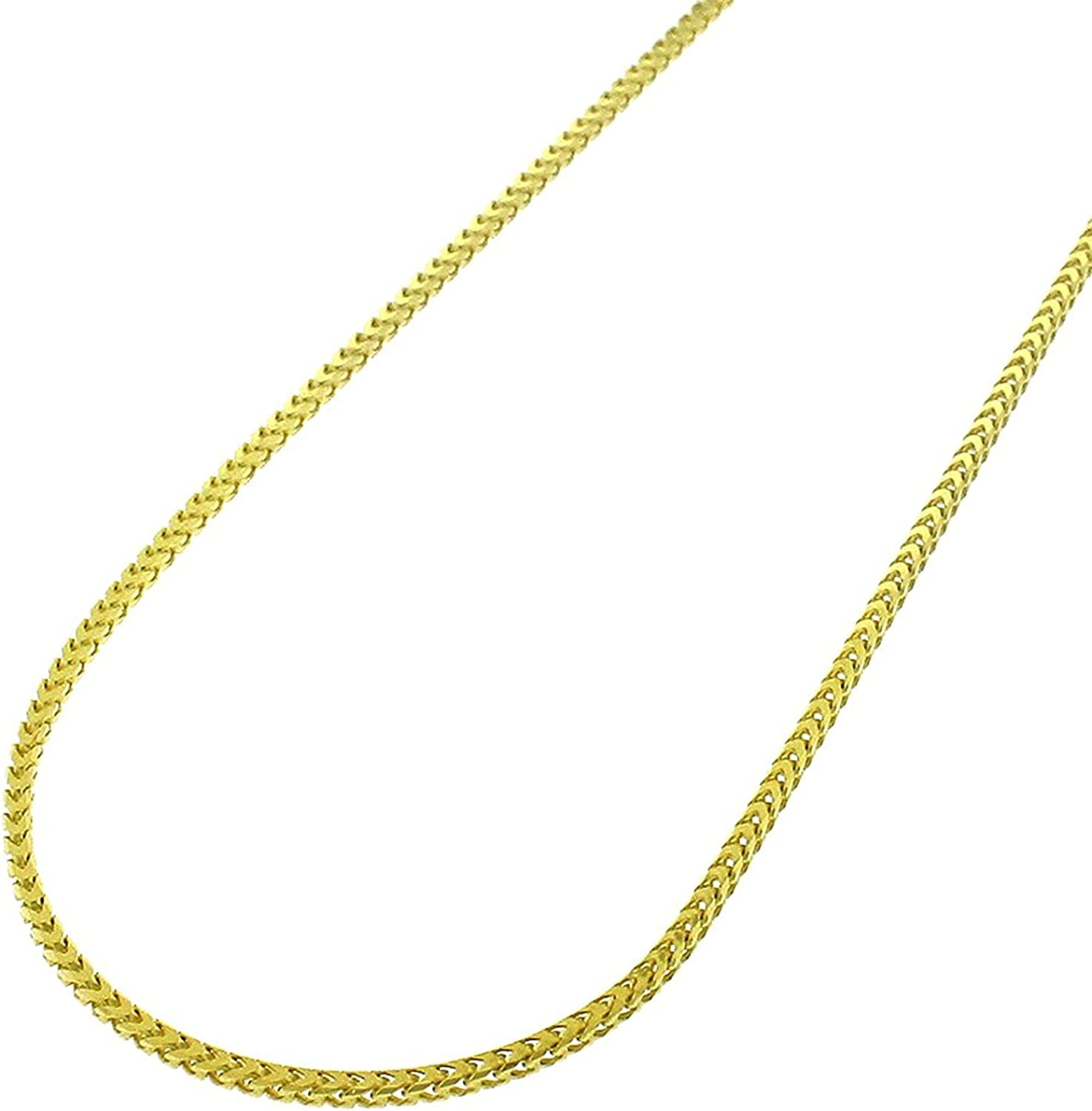 In Style Designz Men /& Women 14K Yellow Gold 1mm Solid Franco Square Box Link Necklace Chain 16-24