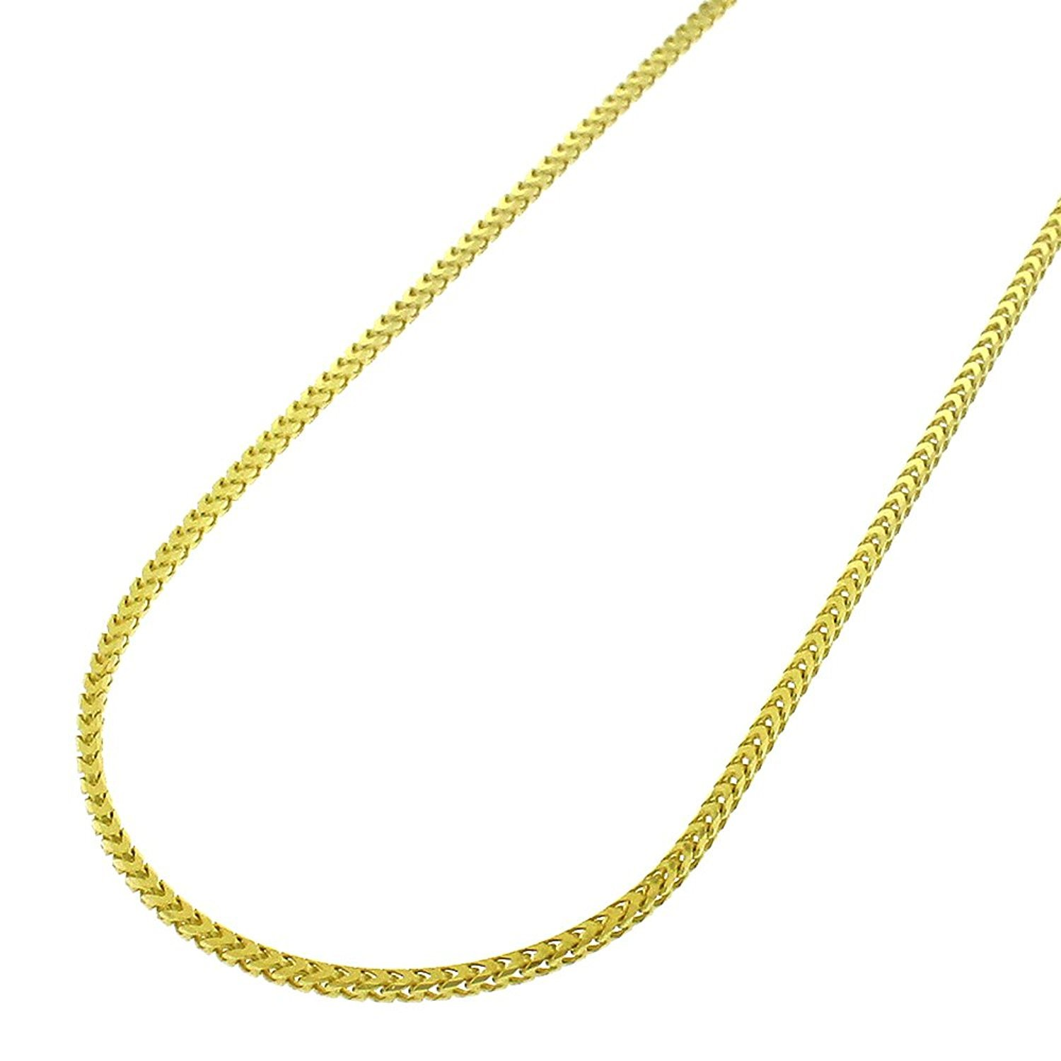 14k Yellow Gold 1mm Solid Franco Square Box Link Necklace Chain 16'' - 24'' (24)