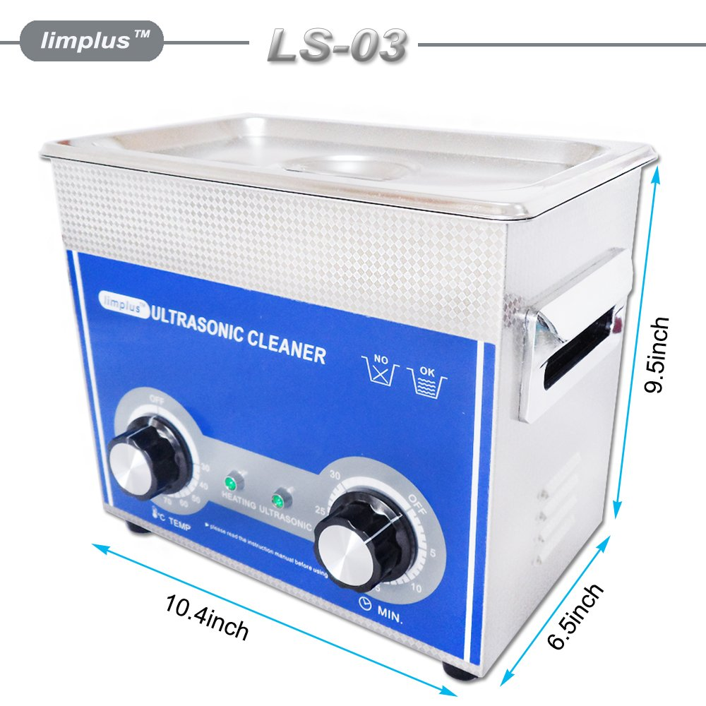 limplus Dental Ultrasonic Cleaner 3liter 40kHz Ring Bath Jewelry Eyeglasses Knob Control Timer Industrial Cleaning Equipment by limplus (Image #6)