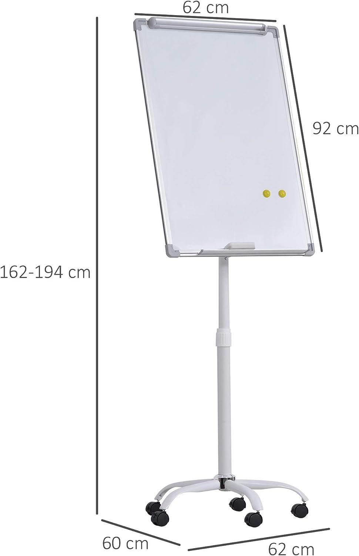Chevalet de conf/érence mobile 62L x 60l x 162-194H cm accessoires inclus blanc tableau blanc effa/çable dim magn/étique r/églable en hauteur
