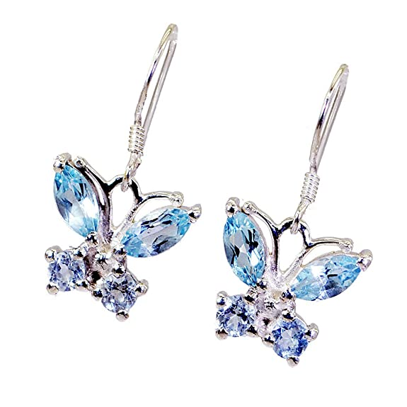 Butterfly Fashion Silver Earrings Natural Blue Topaz For Women Sterling Jewelry Long Hook Marquise Shape LUQUjx
