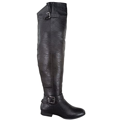 850be0f6f10a Top Moda COCO-29 Women s Over The Knee Buckle Riding Boots