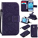 S4 Wallet Case,IVY [Sun Flower] Galaxy S4 PU Leather Cover Wallet Phone Case For Samsung I9500 Galaxy S4 - Purple