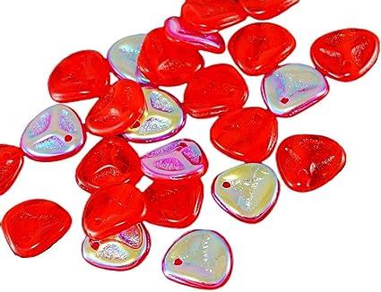 50pcs Czech Glass Rose Petal Pressed Flower Flat Beads 8mm x 7mm