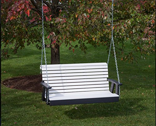(5FT-BRIGHT WHITE-POLY LUMBER ROLL BACK Porch Swing Heavy Duty EVERLASTING PolyTuf HDPE - MADE IN USA - AMISH CRAFTED)
