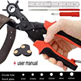 Best Leather Hole Punch Tool Set, Professional Puncher for Belt, Saddle, Watch Strap, Shoe, Leather, Fabric, Paper, Eyelet, Craft Project, Easily Punches Perfect Round Holes in 5/64 Inch to 11/64 Inch
