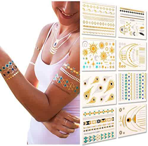 Metallic Temporary Tattoos, Flash Tattoos, 8 Sheets, 150+ Designs