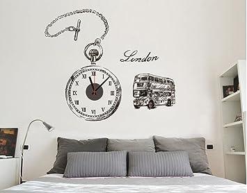 Wandsticker Uhr London Wanduhr Wandaufkleber Mit Uhrwerk Wandtattoo Mit Doubledecker Und Taschenuhr
