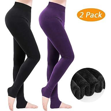 6e351f2e383365 Winter Warm Leggings 2 Pack, Women High Waisted Velvet Elastic Tights Pants,  Thick Velvet