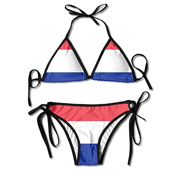 bcd747c0a1 Amazon.com: Flag of France and Monaco Sexy Boxing Bikini Women Halterneck  Top and Set Swimsuits Beach Swimming Black: Clothing