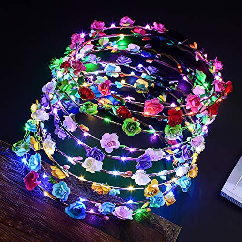 Outgeek LED Flower Crown 12 Pack LED Flower Wreath Headband Crown 10 Led Flower Headdress Party Favors Light Up Toys for Wedding Festival Holiday Halloween Christmas New Year Party