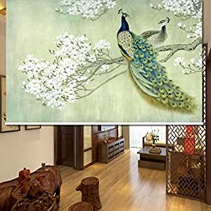 """Passenger Pigeon Thermal Insulated Blackout Fabric Custom Window Roller Shades Blinds,56"""" W x 48"""" L, PRB5"""