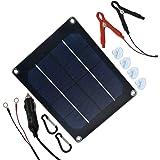 TP-solar 5W 12V Solar Panel Trickle Charger Battery Maintainer 12 Volt + Cigarette Lighter Plug Alligator Clip O-Ring Terminal for Car Boat Motorcycle