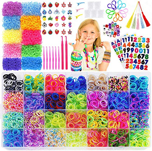 15,000+Rainbow Rubber Bands Refill Kit-56 Colors Bracelet Making Kit,14,000 Loom Bands,500 S Clips,50 Beads,30 Charms,10 Backpack Hooks,8 Crochet Hooks,5 Tassels,4 Stickers,3 Hair Clips