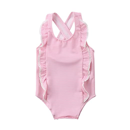 faf63e215d Emmababy Newborn Baby Girl Swimsuit Striped Ruffles Bathing Suit Bikini  Swimwear Cross Back Beachwear (Pink