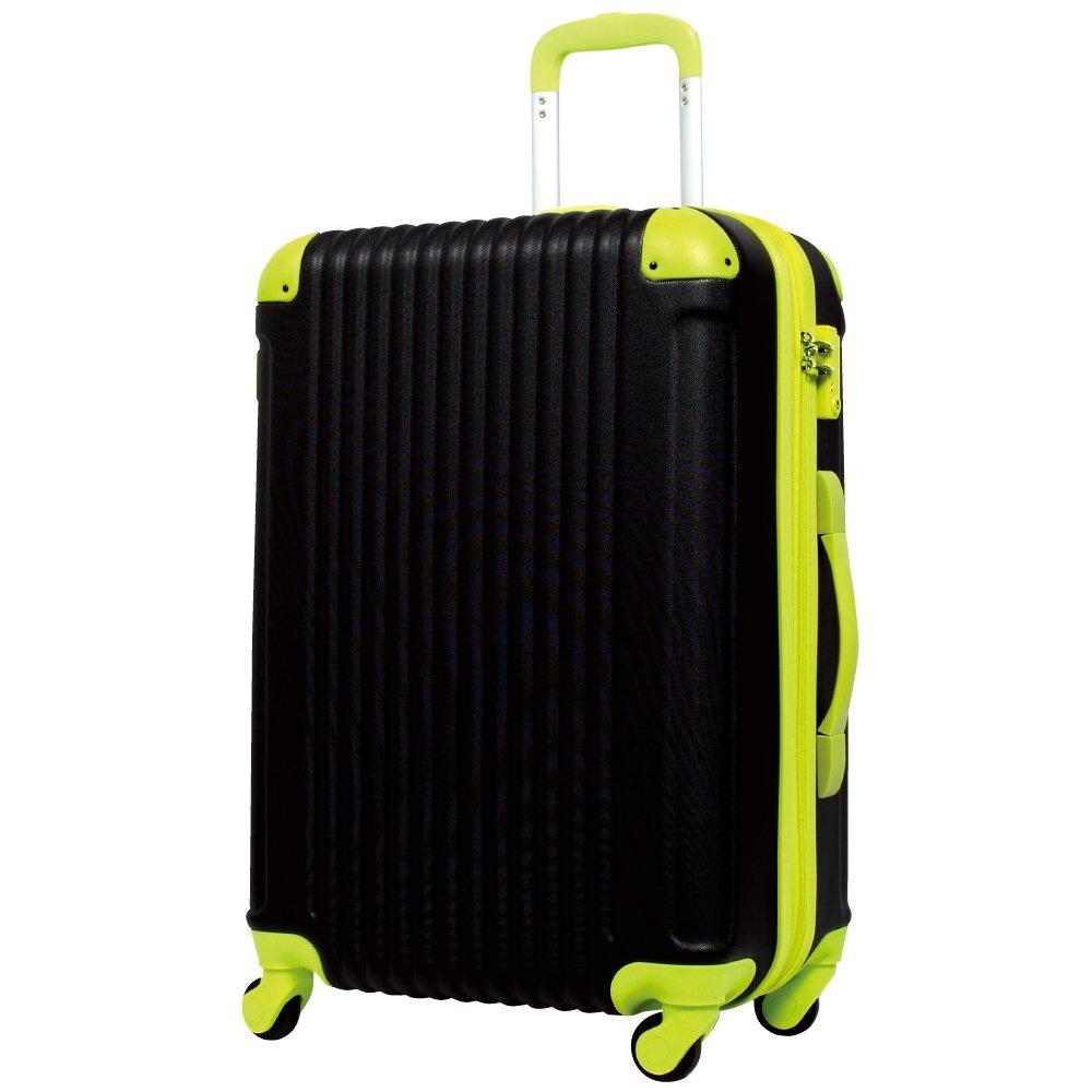 [グリフィンランド]_Griffinland TSAロック搭載 スーツケース キャリーバッグ かわいい エンボス加工 超軽量 newFK1212-1 ファスナー開閉式 S型国内国際線機内持込可 15色3サイズ B07542PT1L L型|ブラック/グリーン ブラック/グリーン L型