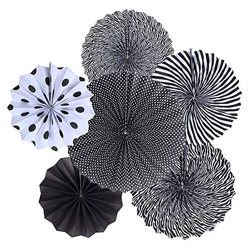 (Uever Black and White Party Decorations Set, 6 pcs Black Paper Fans for Birthday Decortions and Retirement Party, Accessories of Wall)