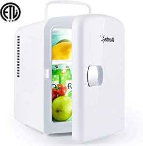 AstroAI Mini Fridge 4 Liter/6 Can AC/DC Portable Thermoelectric Cooler and Warmer for Skincare, Foods, Medications, Home and Travel (White) (Renewed)
