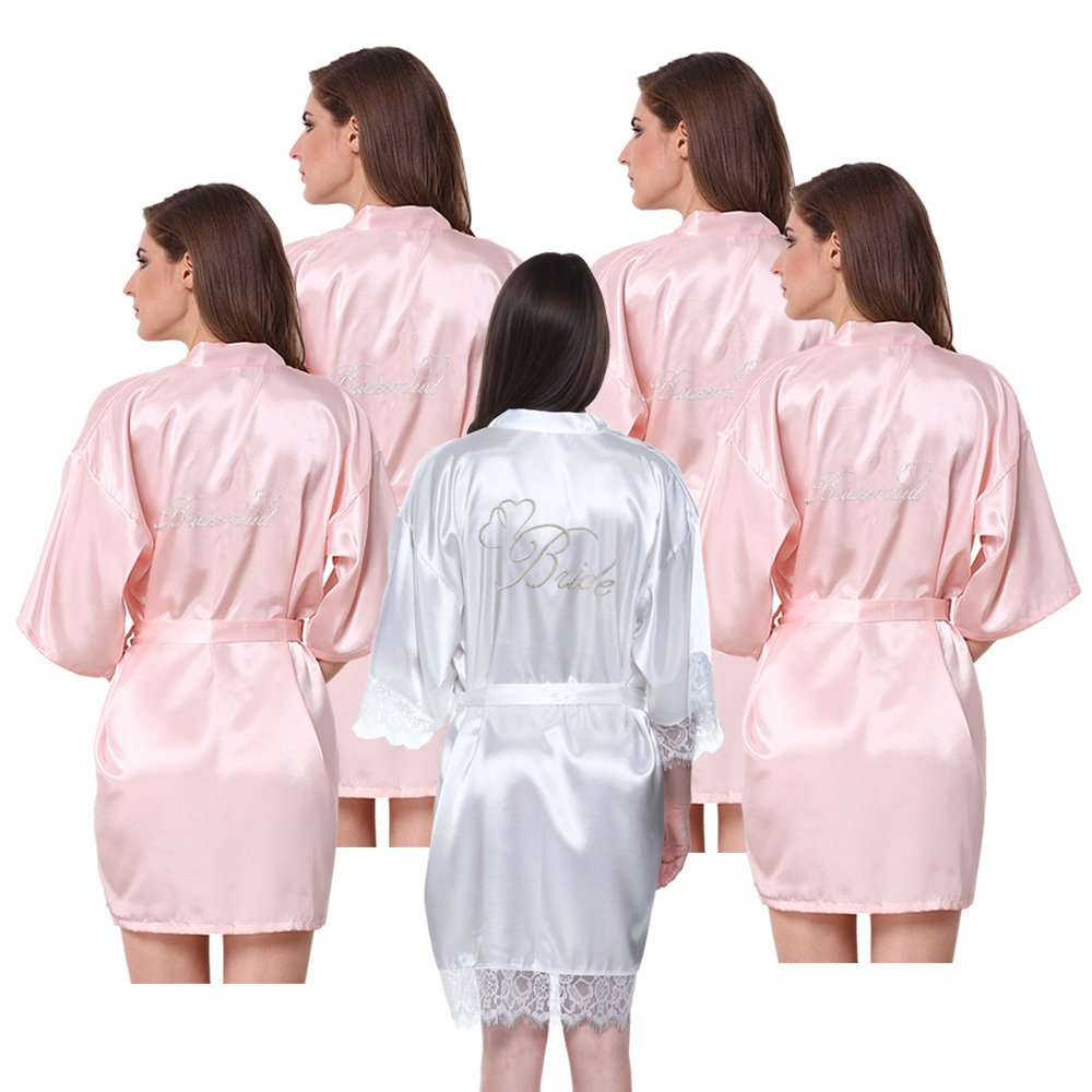 JOYTTON Women's Satin Kimono Robe with Embroidered Bride Bridesmaid 5 Packs