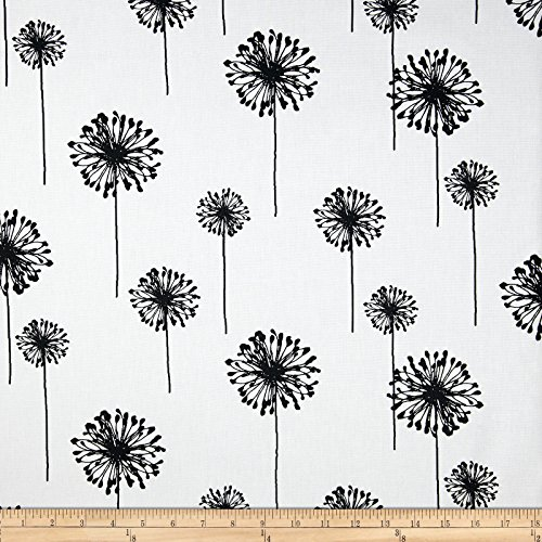 Premier Prints Dandelion White/Black Fabric By The Yard - Black White Upholstery Fabric