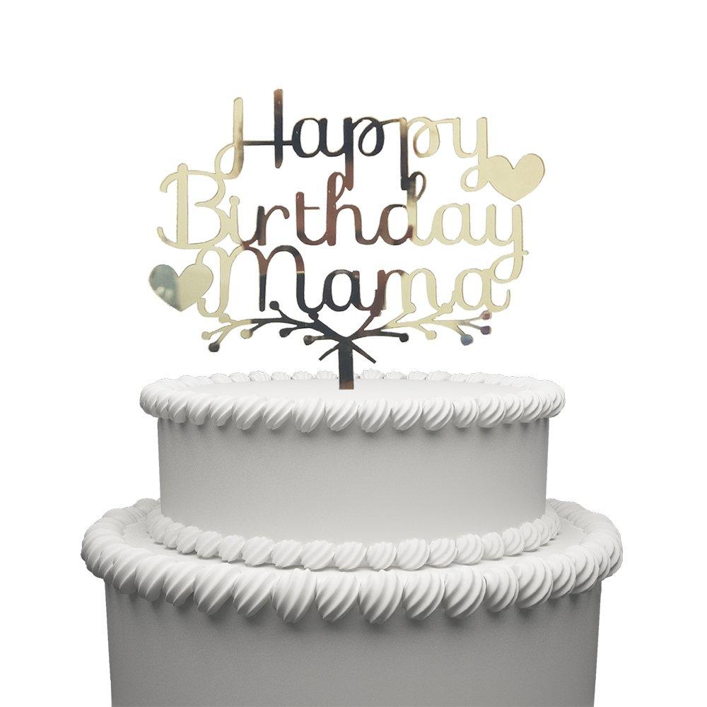 Amazon Happy Mama Birthday Acrylic Heart Cake Topper Gold