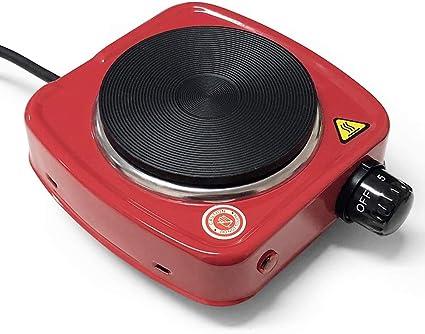 HUIDANGJIA Mini Hornillos eléctricos Portátil 500W,Acero Inoxidable, 5 Niveles de Potencia,Temperatura controlada, Cocina electrica ,para té, café, ...