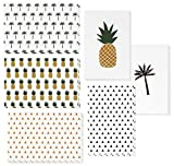 48 Pack All Occasion Assorted Blank Note Cards Greeting Cards Bulk Box Set - 6 Designs Pineapple, Palm Tree, and Triangle - Blank on the Inside Notecards with Envelopes Included - 4 x 6 Inches