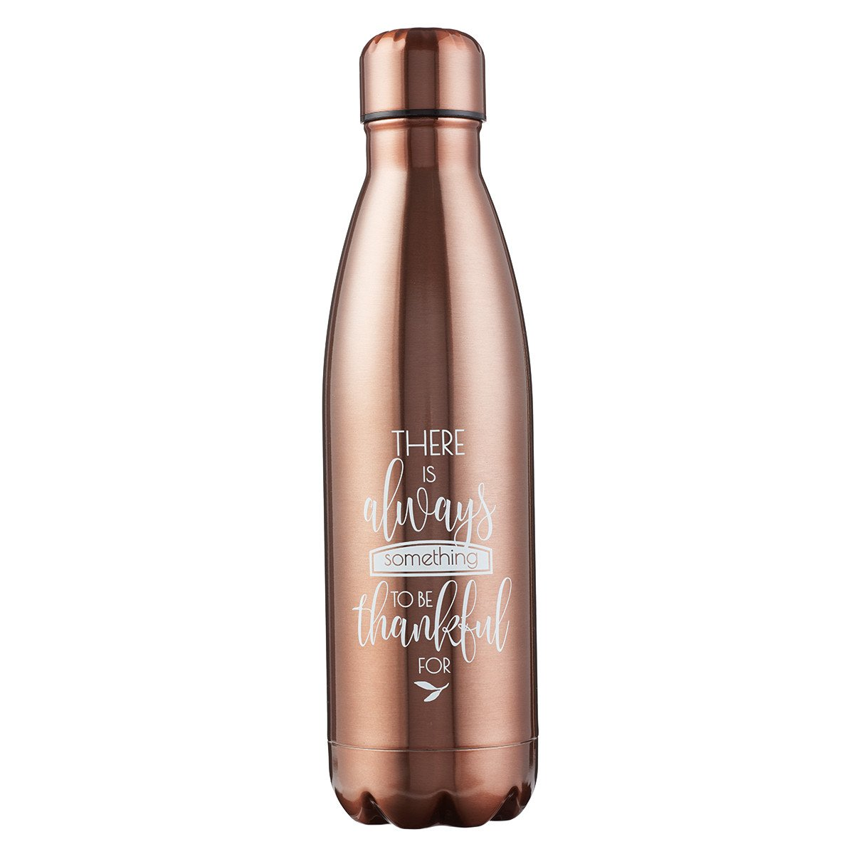 Stainless Steel Water Bottle, Thankful, 17 Ounce, Metallic Bronze