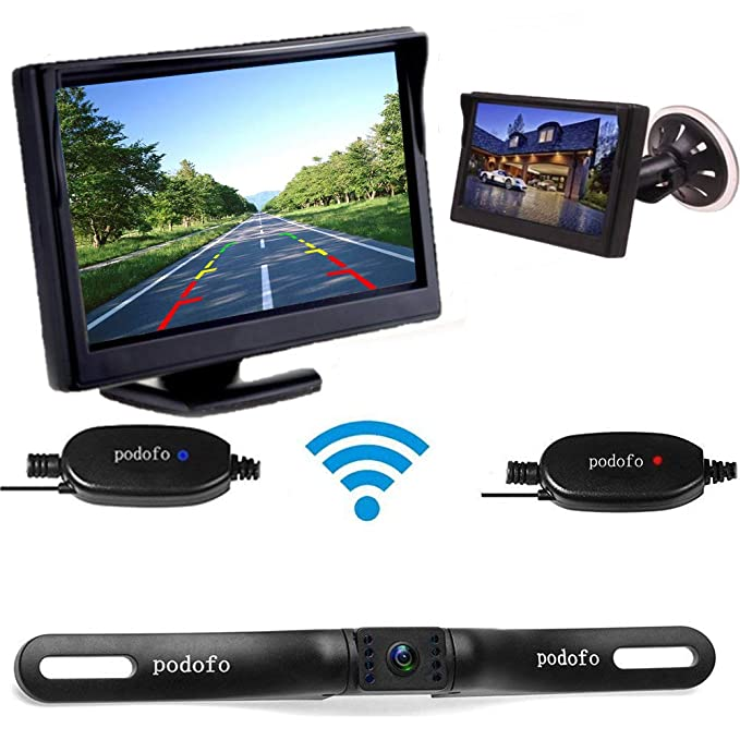 Backup Camera System >> Wireless Car Backup Camera System Podofo 5 Inch Tft Lcd Car Reverse Monitor 7 Leds Night Vision Wide View License Plate Rear Camera Ip68 Waterproof