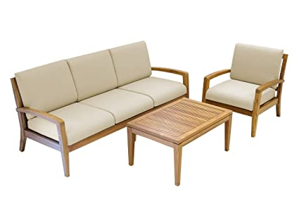 Ohana Teak Patio Furniture 4-Seater Conversation Set with Beige Cushions (4-Seater)