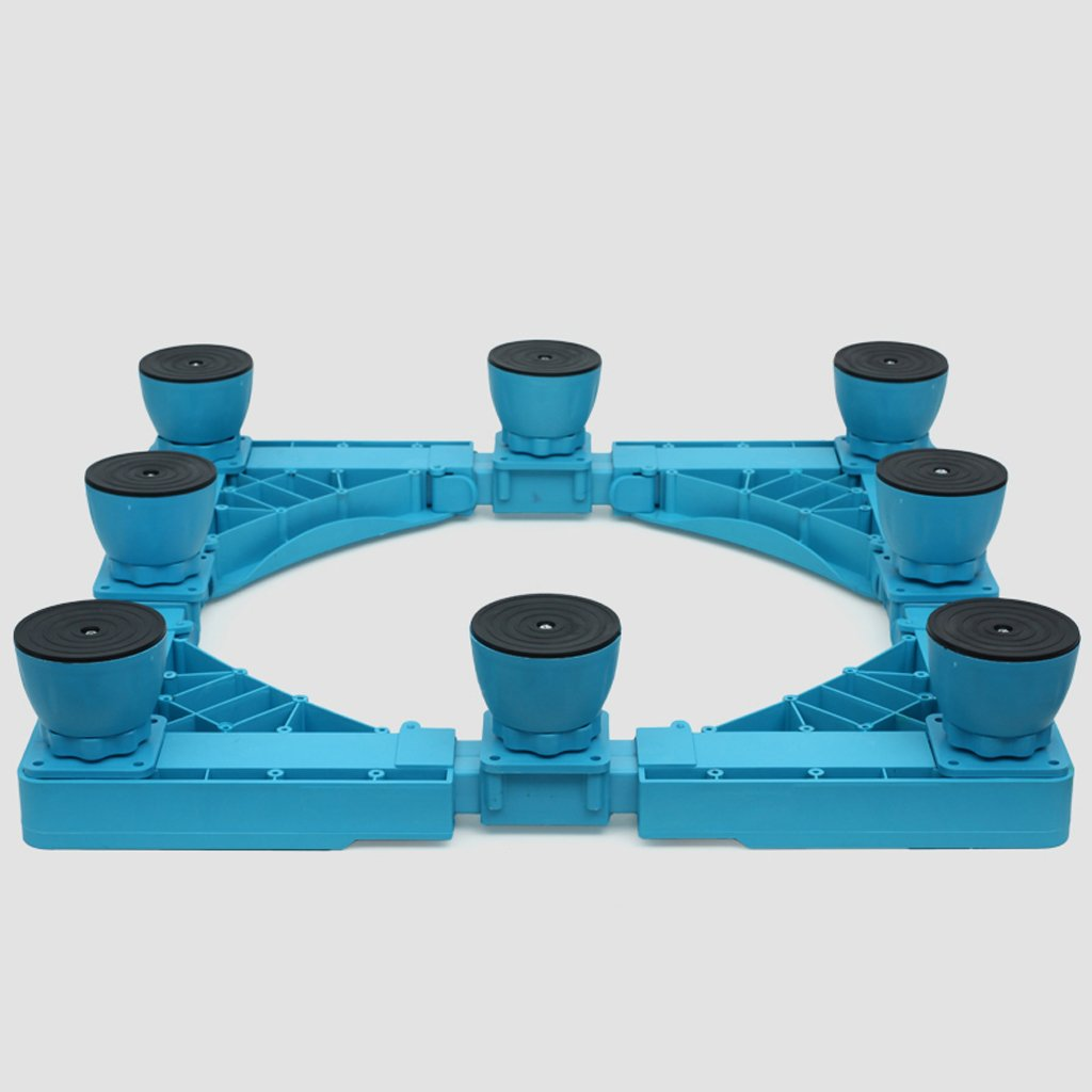 Color Washing Machine Base Eight Feet Steel Profiles Heightening Bracket Fridge Stand -Casters (Color : Blue)