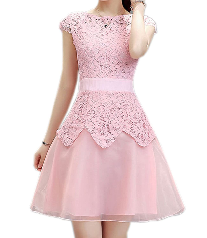 Ikerenwedding Women's Jewel Cap Sleeve Lace A-Line Short Chiffon Homecoming Dress