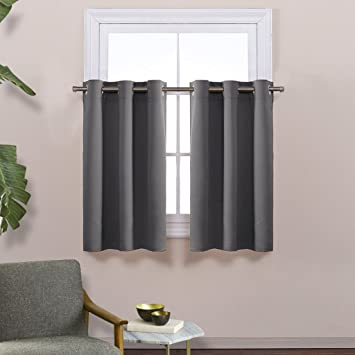 Kitchen Blackout Window Treatment Valances   Thermal Insulated Home Decor  Blackout Grommet Tier Curtains Drapes By