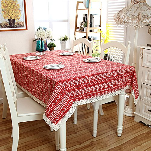 LOHASCASA Christmas Tree Lace Linen Rectangular Tablecloth Outdoor Camping Red 55x78 Inch 55x78 Inch (Tree Lace)
