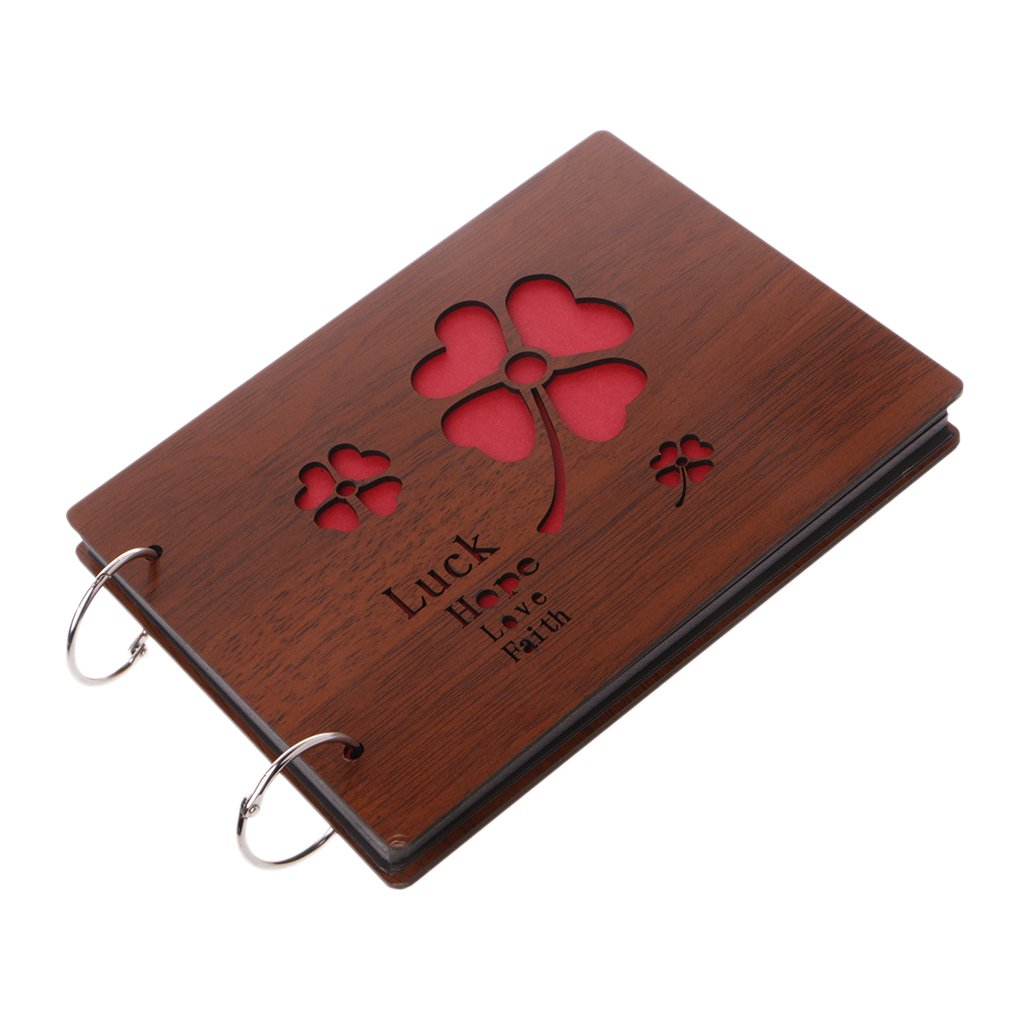 Richi 8 Inch Luck Wooden Crafts Albums Red Loose-leaf Glued Baby Lovers Photo Album