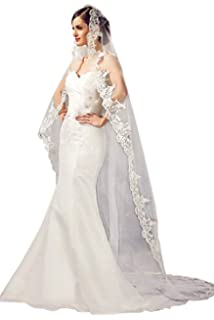 ab5c7b1d6c67 Babyonline White Ivory Tulle Sheer Wedding Bridal Veils Cathedral for Bride