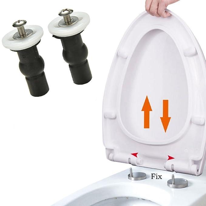 TILY 2 x WC-Sitz-Scharniere Sackloch Befestigungen Expansion Gummi Top Muttern Schrauben