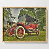 Society6 Serving Tray with handles, 18'' x 14'' x 1 3/4'', Stanley Steam Car by catchavista