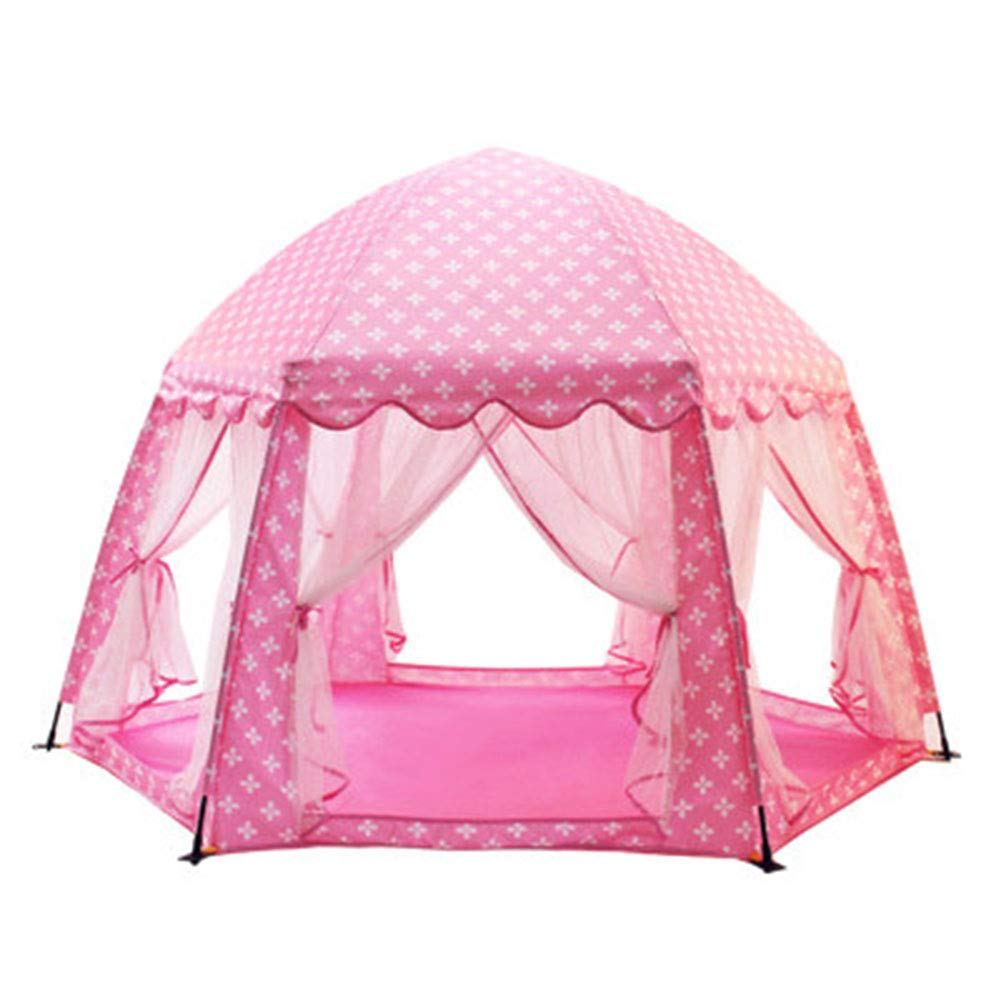 XIAO&Z Prince or Princess Children Kids Play Tent House Indoor or Outdoor Garden Toy House Play House Tent Boys Girls,Pink by XIAO&Z (Image #1)