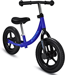 MAXTRA Lightweight Balance Bike 12inch No Pedal Bicycle Adjustable Handlebar and Seat for Ages 18 Months to 5 Year Old Dark Blue