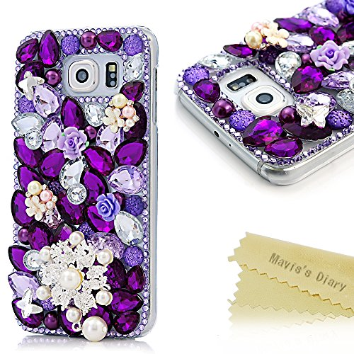 Sm Flower (Samsung S6 Case - Mavis's Diary 3D Handmade Bling Crystal Beautiful Pearl Flower and Cute Pendant with Shiny Glitter Sparkly Purple Diamond and Butterfly Rhinestone Clear Hard Back Case Cover for Samsung Galaxy S6 SM-G920F with Soft Clean Cloth (Pearl Flower Purple Diamond))