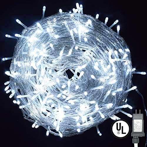 Vinsco String Lights, Plug in 300 LED 100 ft/30M [UL Listed] [Weatherproof] [8 Modes] Decorative Lighting for Bedroom Patio Indoor Outdoor Home Kids Room Christmas Xmas Tree Holiday Party-Cool White ()