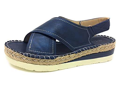 6991cdd61e3 CIPRIATA Womens Low Wedge Comfort Sandals Navy Shimmer  Amazon.co.uk ...