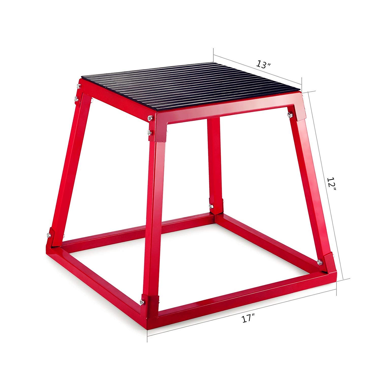 popsport Plyometric Platform Box 12/18/24/30 Inch Fitness Exercise Jump Box Step Plyometric Box Jump for Exercise Fit Training (red, 12inch)