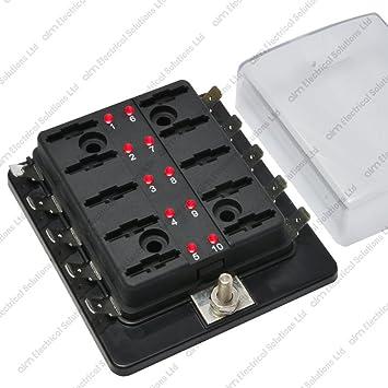 10 way blade fuse box holder bus bar with led failure amazon co  10 way blade fuse box holder bus bar with led failure warning 12v 24v