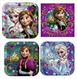 Disneys Frozen Birthday Party Supplies Value Pack: Dinner Plates, Dessert Plates & Napkins for 8 Guests